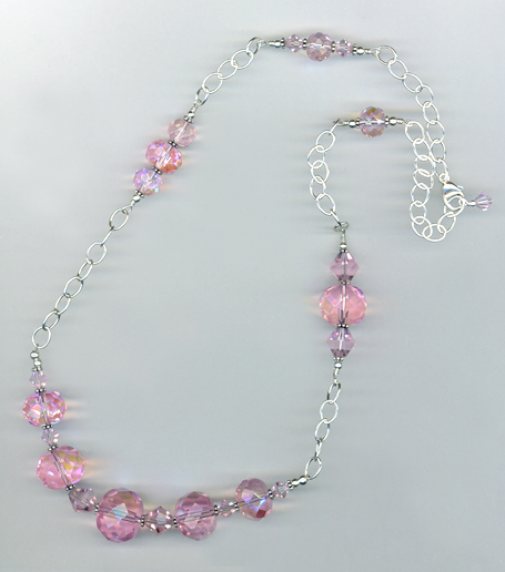 pink donut crystal chain necklace