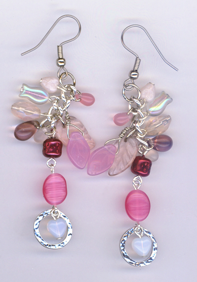 pink charm dangle earrings