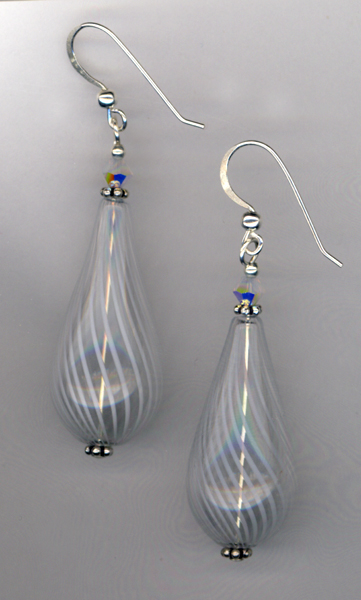 white teardrop handblown glass earrings