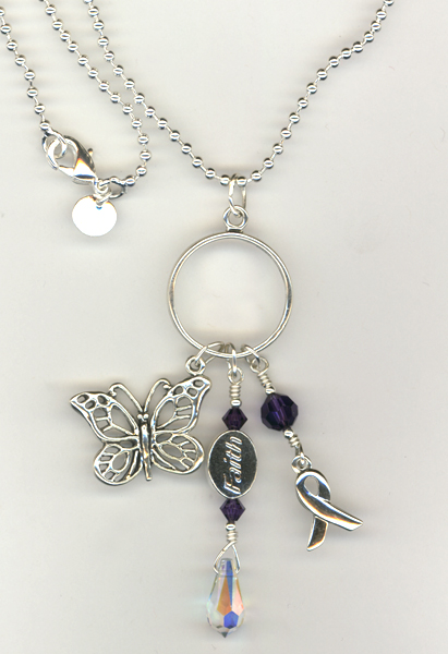 faith butterfly crystal charm necklace
