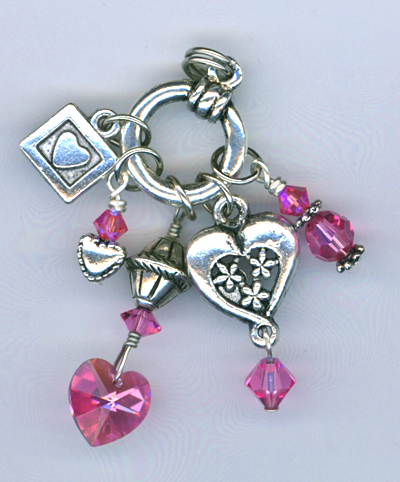 pink rose crystal heart charm necklace