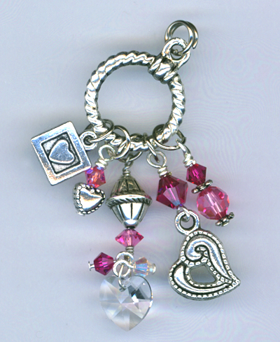 pink multi crystal heart charms neck