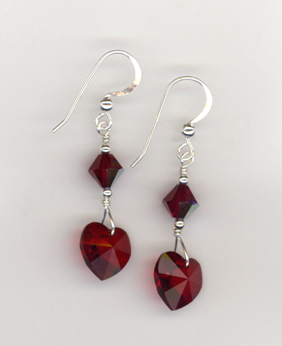 red siam heart crystal earrings