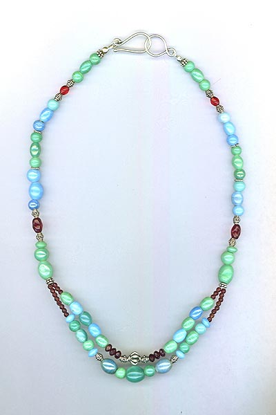 Southwest Turquoise Blue Green Red Necklace