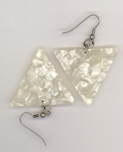 white pearl triangle gp earring
