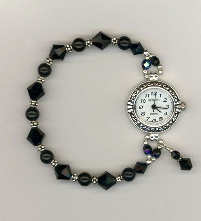 Jet black crystal pearl stretch watch