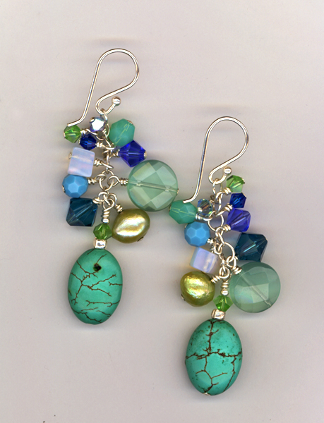turquoise gemstone mix earrings