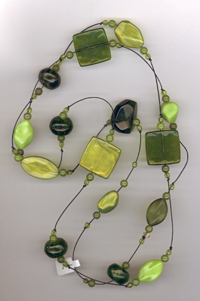 super long acrylic green necklace