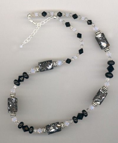 black white mop crystal necklace