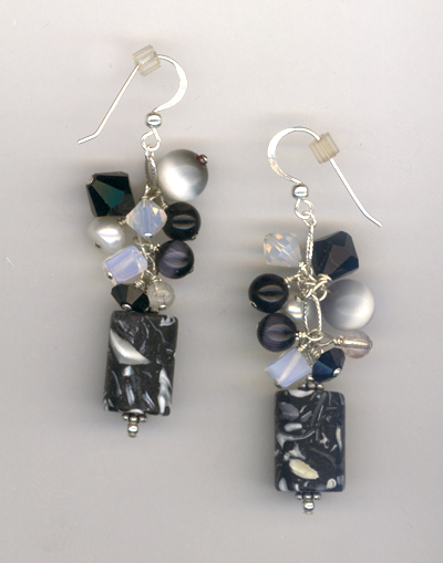 black white mop crystal cluster earrings