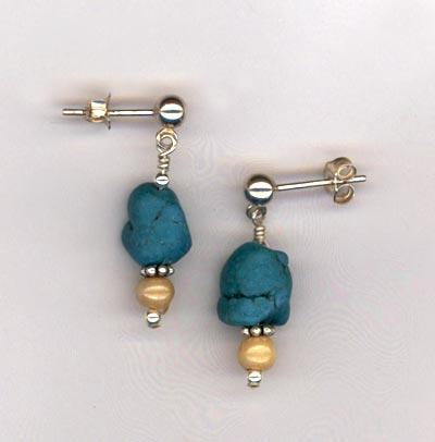 turquoise nugget bone post earring