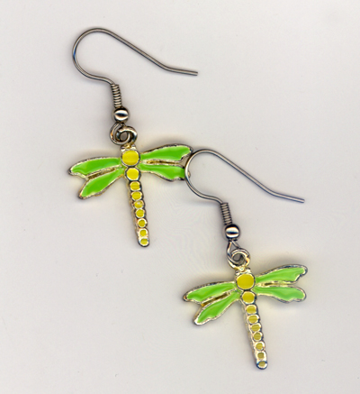 yellow dragonfly charm earrings