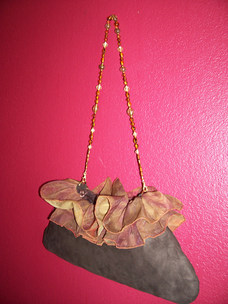 Brown Copper Ruffled Slouch HOBO Handbag