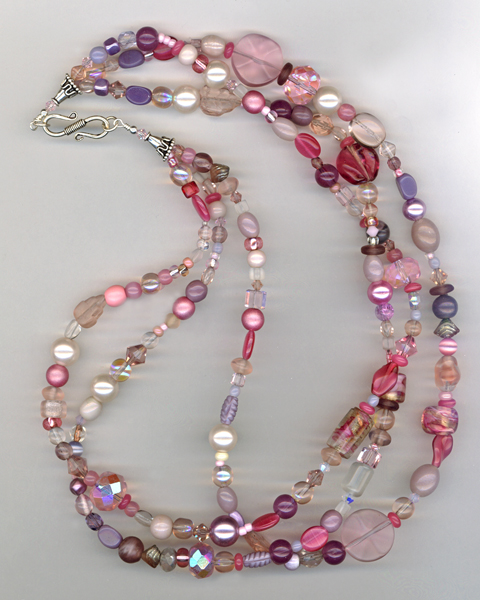 pink 3 strand necklace ss