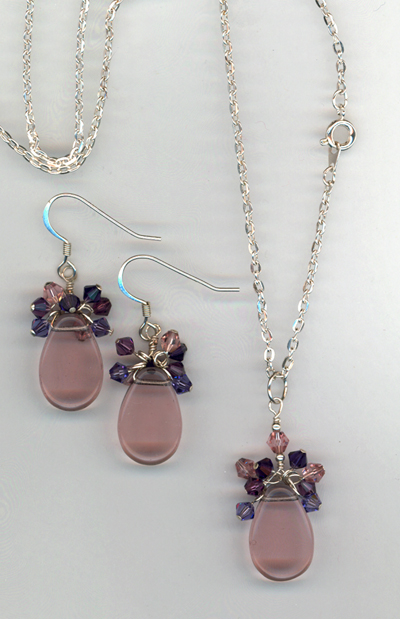 purple crystal cluster set