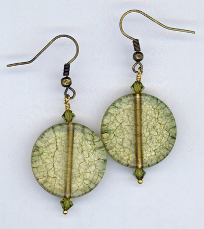 olive art glass earrings