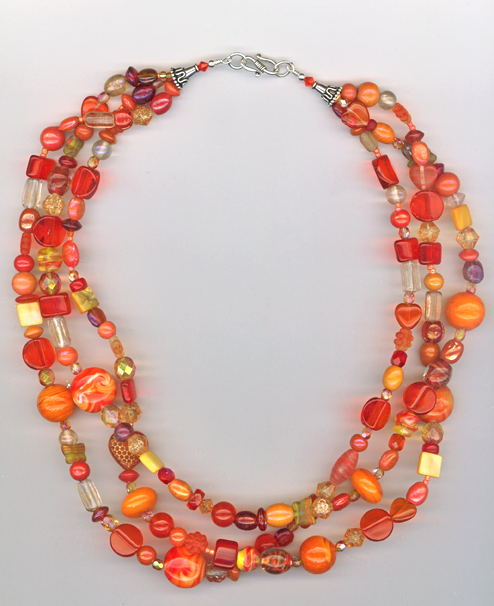 Orange 3 layer mix bracelet