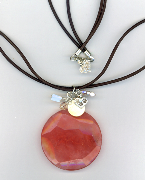 rose quartz leather necklace
