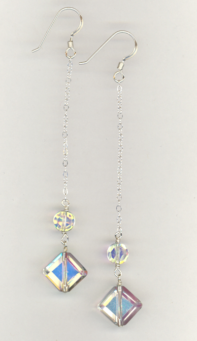 beveled diamond long chain earrings