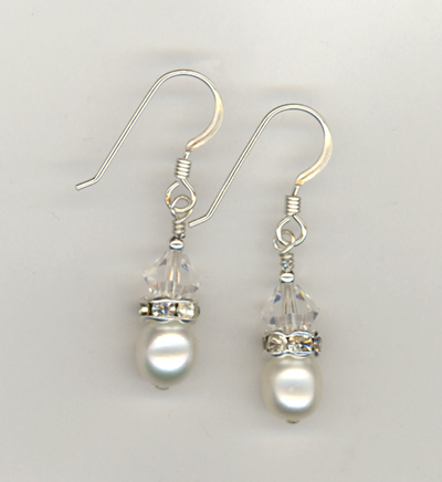 white pearl clear crystal stack earrings